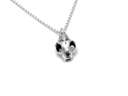 Small Cat Skull Necklace, Animal Rock Jewelry in Sterling Silver