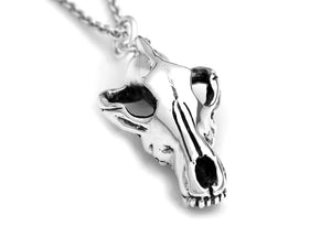 Wolf Skull Necklace, Animal Rock Jewelry in Sterling Silver