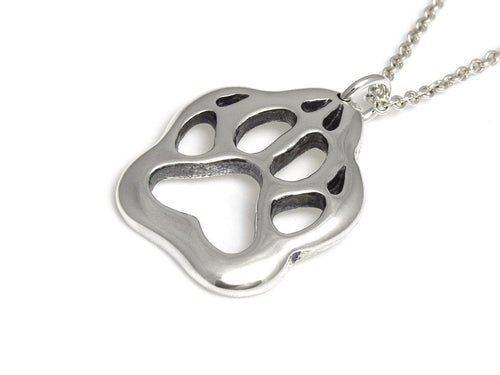 Wolf Track Necklace, Animal Footprint Jewelry in Sterling Silver