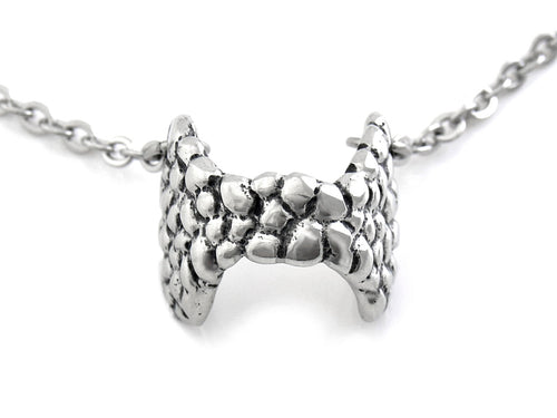 Thyroid Gland Choker Necklace, Anatomy Jewelry in Pewter