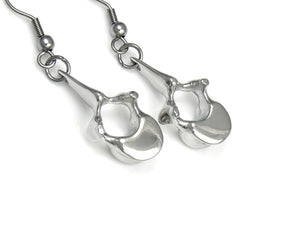 Vertebra Earrings, Anatomical Jewelry in Pewter