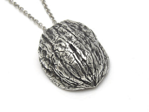 Walnut Shell Necklace, Nut Nature Jewelry in Pewter