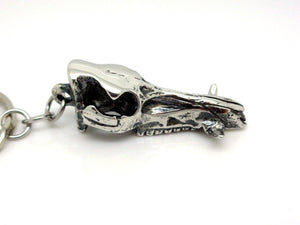 Wild Boar Skull Keychain, Animal Skeleton Keyring in Pewter