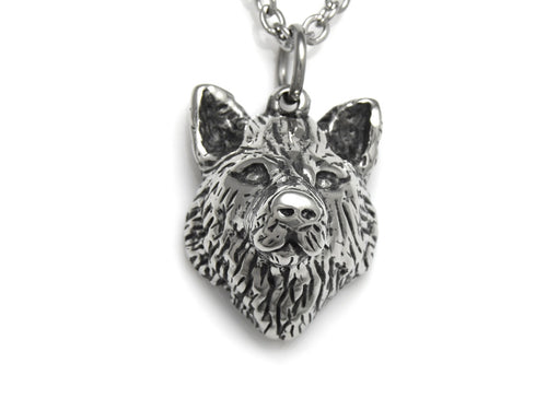 Wolf Head Necklace, Werewolf Jewelry in Pewter