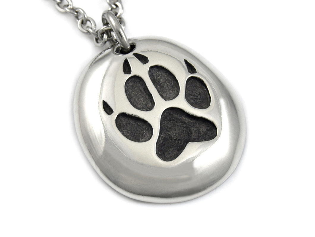 Wolf Track Necklace, Animal Paw Footprint Jewelry in Pewter