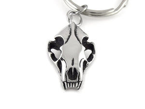 Wolverine Skull Keychain, Animal Skeleton Keyring in Pewter