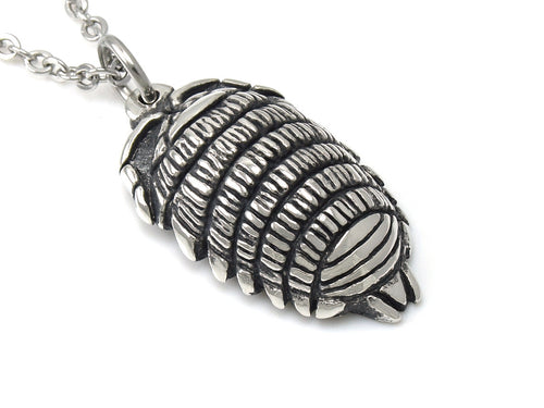 Woodlouse Necklace, Oniscidea Jewelry in Pewter