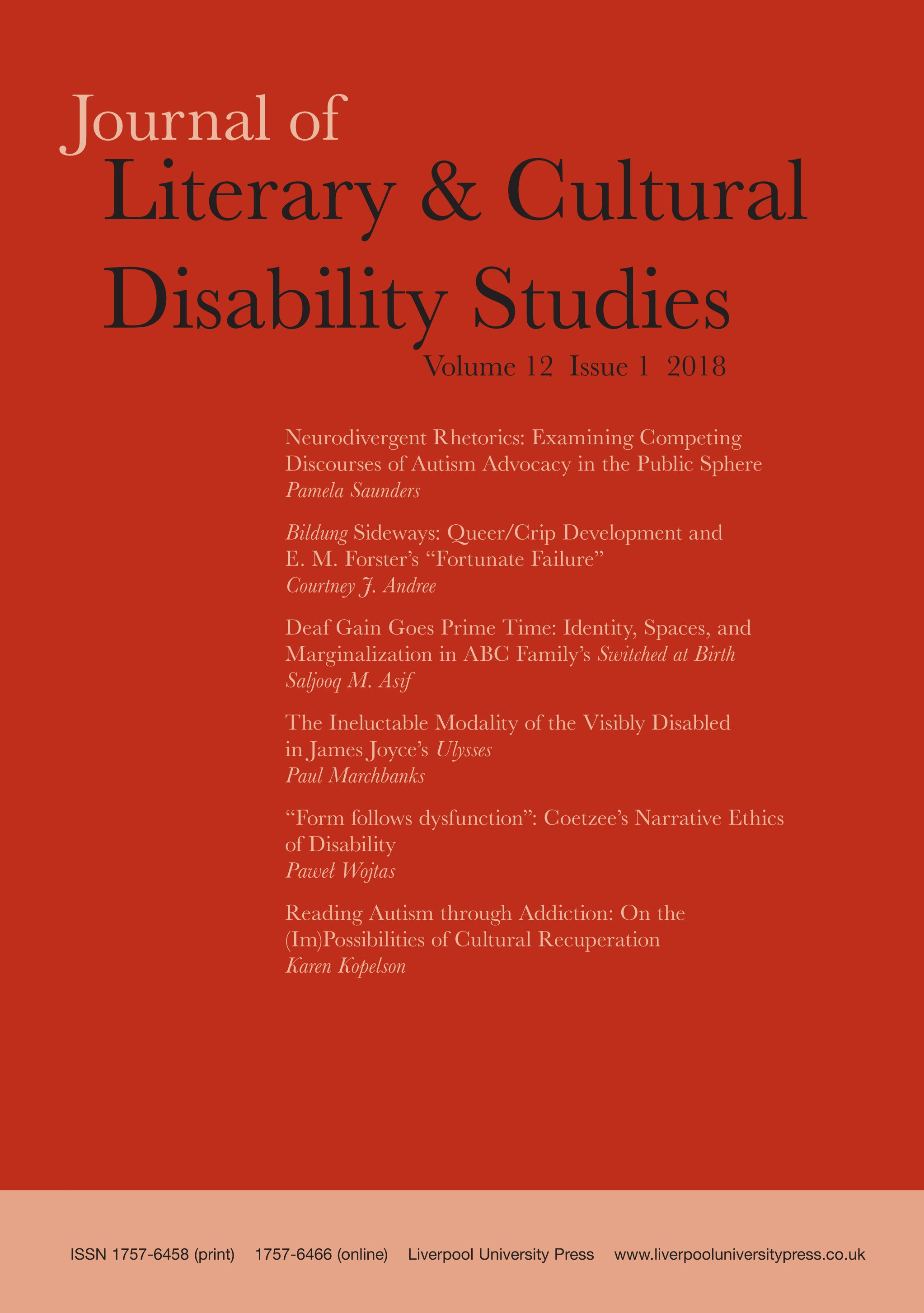 link to Journal of Literary and Cultural Disability Studies
