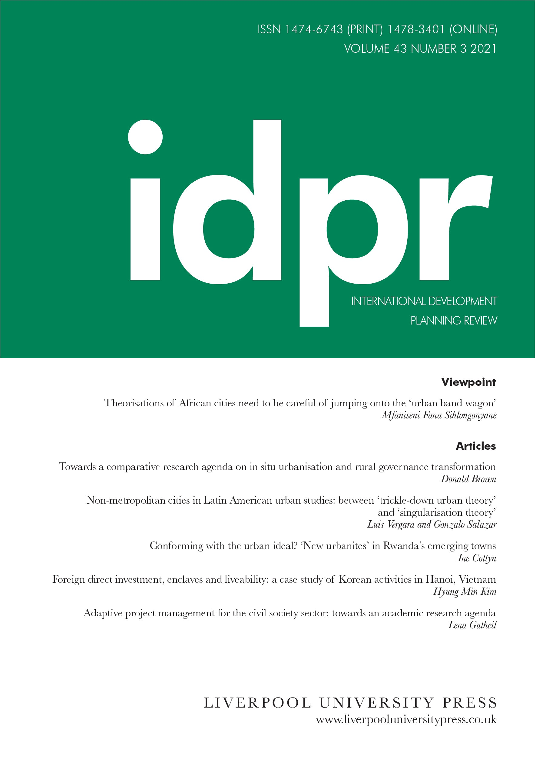 link to International Development Planning Review article