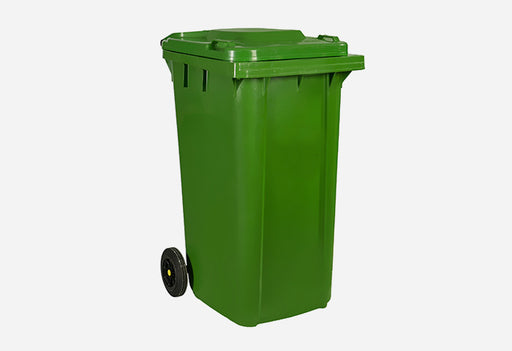 240L Plastic Mobile Trash Bin Solid Green