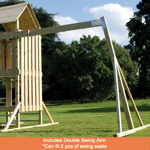 TP Kingswood Full Height Playground Double Swing Arm, Rapide Slide and One Wraparound Seat