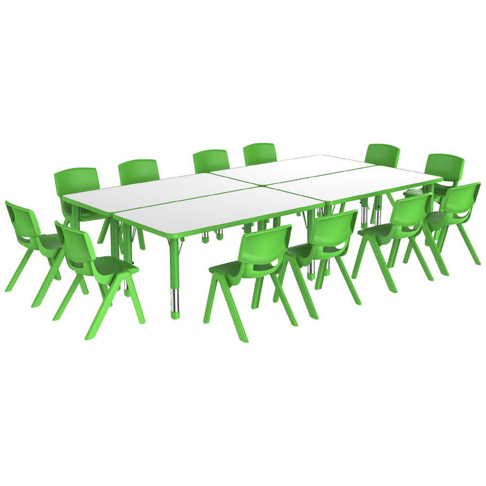 Rectangular Adjustable  Table, Green  - 60Cm