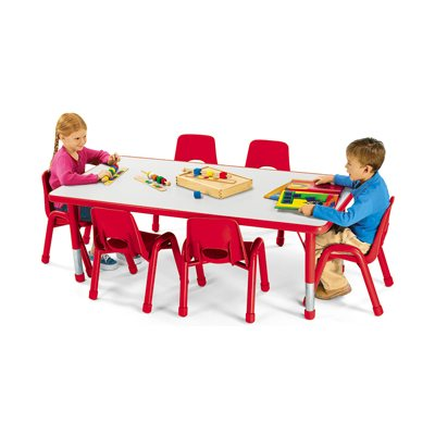 Rectangular Adjustable Table, Red  - 60Cm