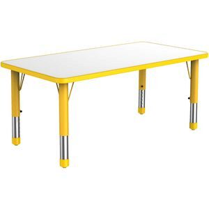 Rectangular Adjustable Table, Yellow  - 60Cm