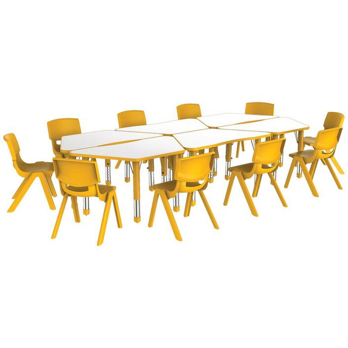 Adjustable Trapezoid Table Yellow
