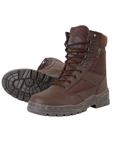 Half Leather Half Nylon Boots - Brown