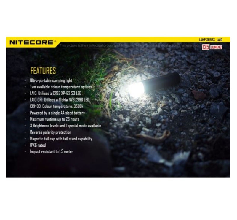 Nitecore LA10 Mini Camping Lantern - 135 Lumens - PREPARE FOR ADVENTURE