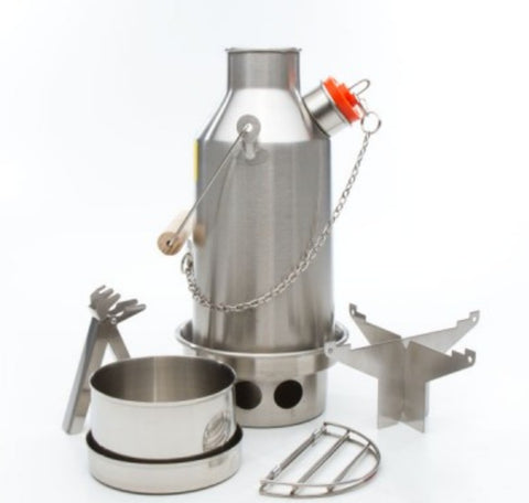 Kelly Kettle Stainless Steel Trekker Kit - Kettle, Pot Support, Cook set