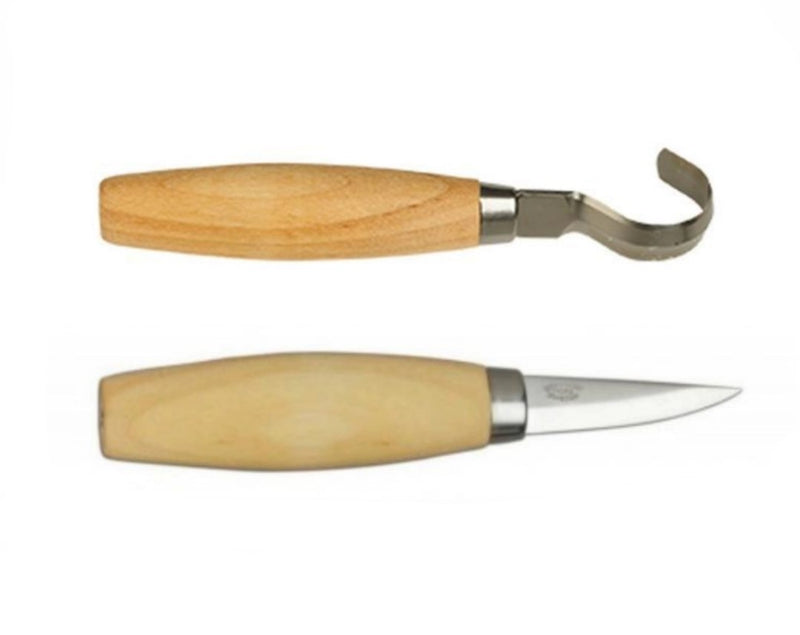 Mora Carving Knife Set - Mora Carving Knife 120 - Mora Hook Knife 163s - PREPARE FOR ADVENTURE