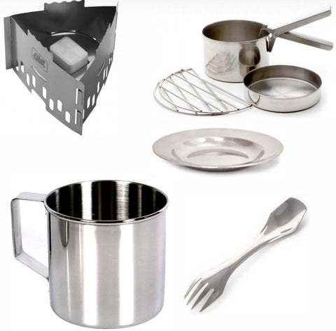 Wild Camping Cook Set - Solid Fuel Stove - Cook Pot - Frying Pan - Mug - Spork - Plate - PREPARE FOR ADVENTURE