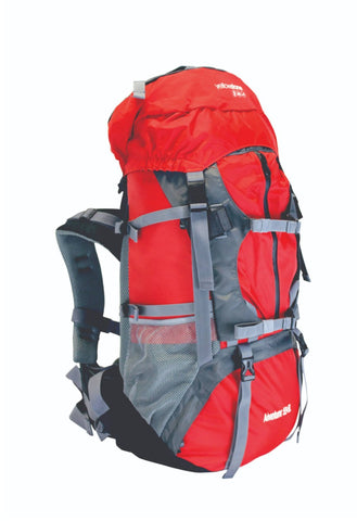 Camping 55ltr + 5ltr Adventurer Rucksack - Red/Grey - Yellowstone