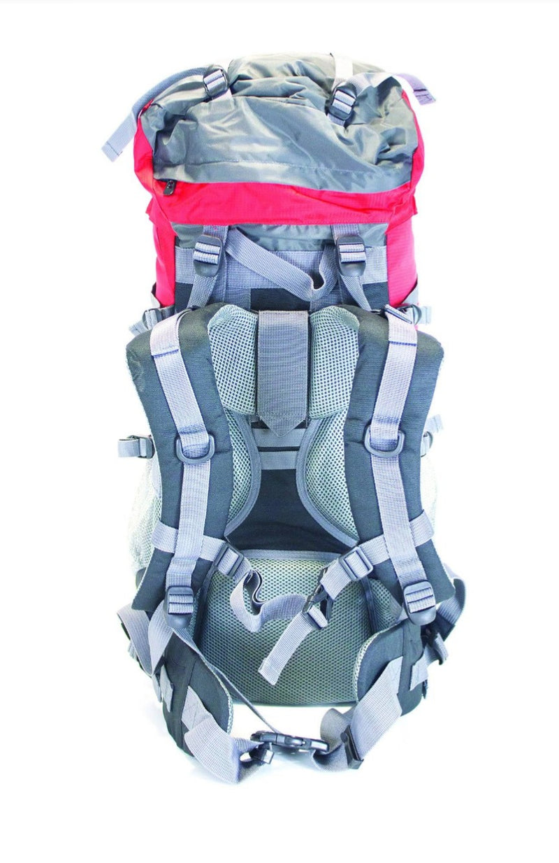 Camping 55ltr + 5ltr Adventurer Rucksack - Red/Grey - Yellowstone - PREPARE FOR ADVENTURE