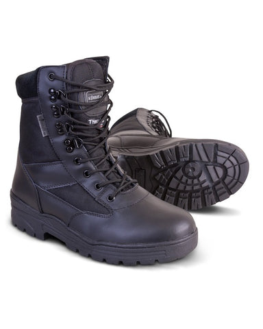 Half Leather Half Nylon Boots - Black
