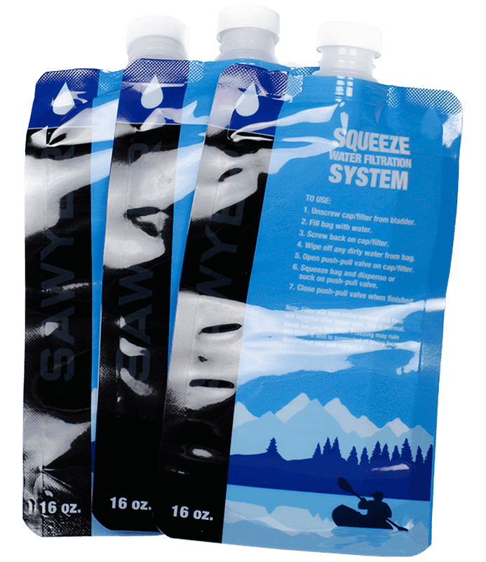 Sawyer Mini Water Filter - 3 Pack of Pouches - PREPARE FOR ADVENTURE