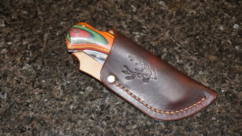 Hand made leather folding knife sheath