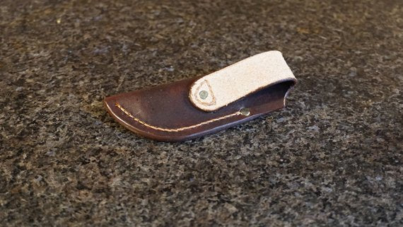 Hand made leather folding knife sheath - PREPARE FOR ADVENTURE