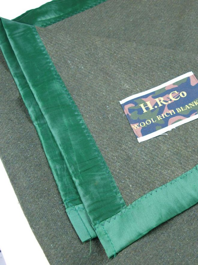 Olive Green Woollen Blankets - Sateen Edge - PREPARE FOR ADVENTURE