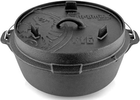 Petromax ft6 Flat Base Dutch Oven - 5.5ltr - Cast Iron - PREPARE FOR ADVENTURE