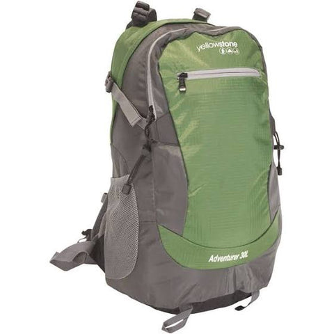 Hiking 30ltr Day Pack - Adventurer Rucksack - Green - Yellowstone