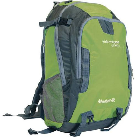 Hiking 40ltr Day Pack - Adventurer Rucksack - Green/Grey - Yellowstone - PREPARE FOR ADVENTURE