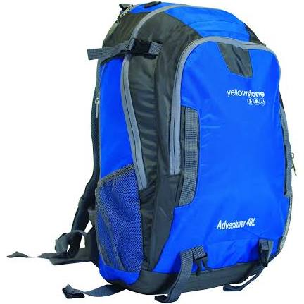 Hiking 40ltr Day Pack - Adventurer Rucksack - Blue/Grey - Yellowstone - PREPARE FOR ADVENTURE