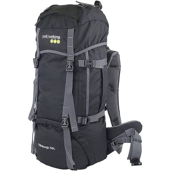 Expedition 55ltr Rucksack - Camping - Black - Yellowstone - PREPARE FOR ADVENTURE