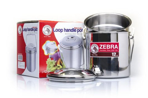 Zebra Loop Handle Pot - Billy Can - 12cm - 1.4ltr - Stainless Steel - PREPARE FOR ADVENTURE