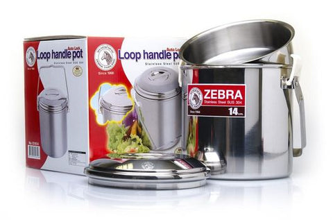 Zebra Loop Handle Pot - Billy Can - 14cm - 2ltr - Stainless Steel - PREPARE FOR ADVENTURE