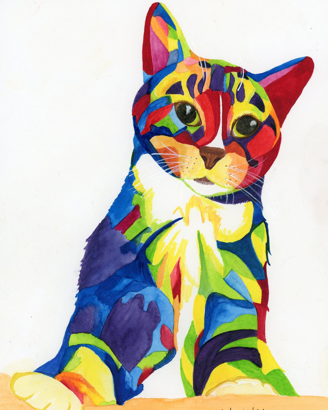 Rainbow Kitty Archival Print with Mat - Pups of Color