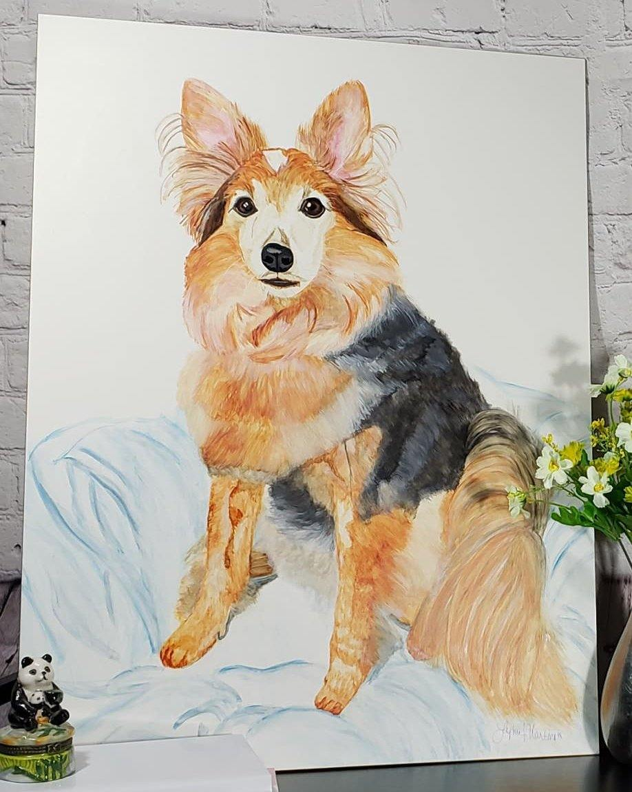 Custom Watercolor on Claybord, Cradled - Large Format - Pups of Color