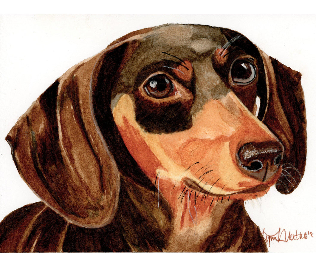 Dachshund Archival Print with Mat - Pups of Color