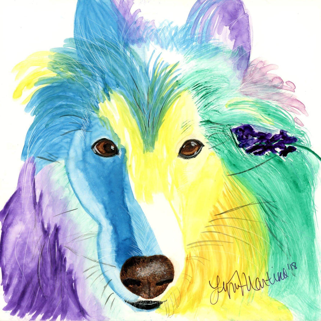 Dreamy as a Rainbow Original Watercolor - Pups of Color