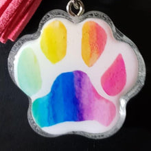 Load image into Gallery viewer, Paw portrait keychain, Custom paw portrait, Watercolor paw portrait, Dog Art, Cat Art, Pet Memorial, rainbow paw keychain, rainbow art paw - Pups of Color