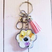 Load image into Gallery viewer, Paw portrait keychain, Corgi paw portrait, Watercolor paw portrait, Dog Art, Cat Art, Pet Memorial, rainbow paw keychain, rainbow art paw - Pups of Color