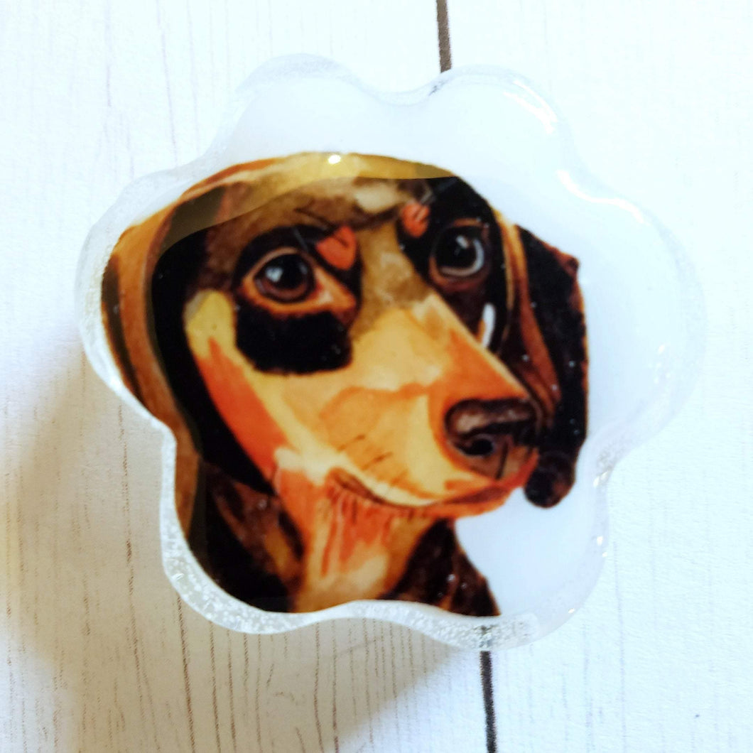 Dachshund Paw Shaped Watercolor Portrait Magnet - Pups of Color