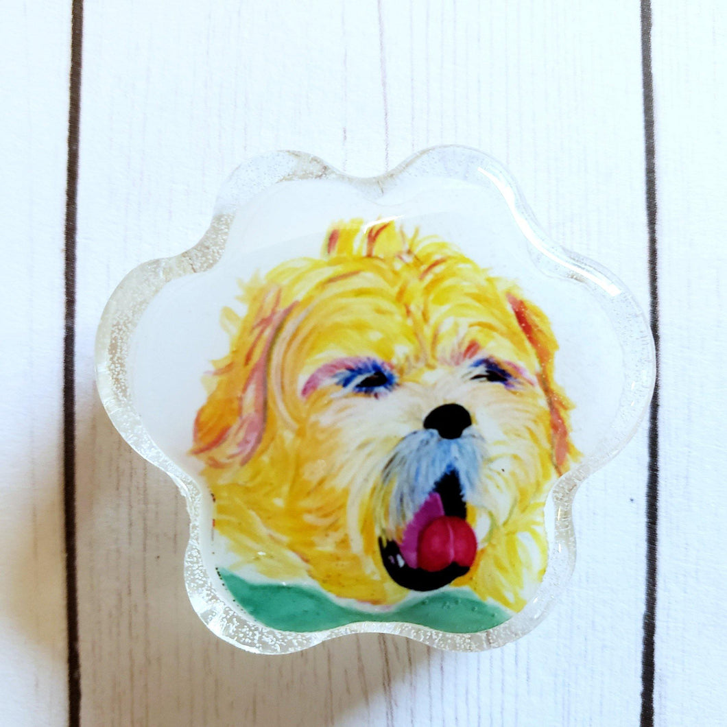 Dog Paw portrait magnet, Custom Watercolor paw portrait, Animal Art, Pet Memorial, rainbow paw magnet, rainbow art magnet - Pups of Color