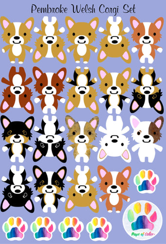 Sticker or Vinyl Decal Set - Pups of Color