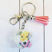 Load image into Gallery viewer, Paw portrait keychain, rescue paw portrait, Watercolor paw portrait, Dog Art, Cat Art, Pet Memorial, rainbow paw keychain, rainbow art paw - Pups of Color