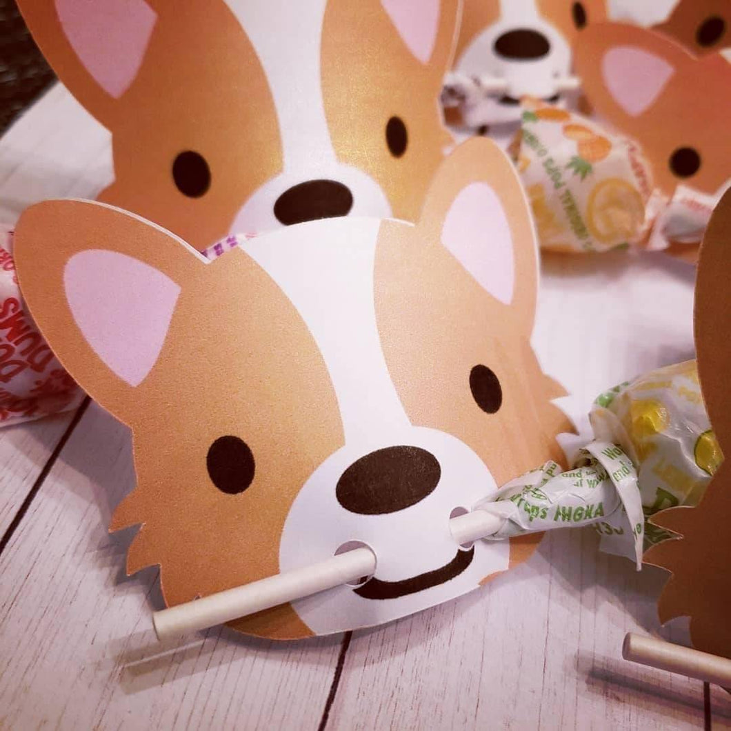 All Occasion Corgi Lollipop Holders, Cards or Tags - Pups of Color