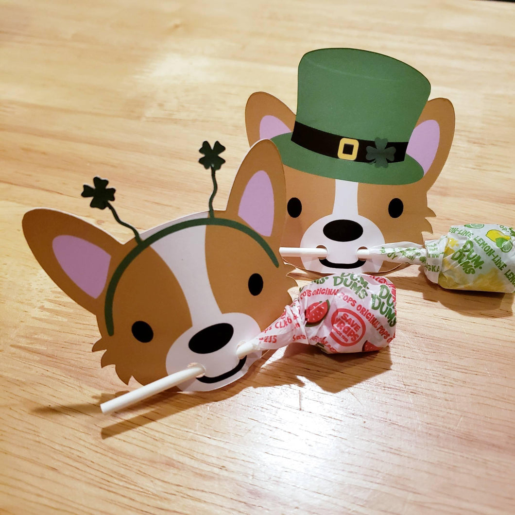 Holiday Corgi Lollipop Holders, Cards or Tags - Pups of Color